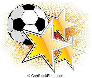 football - Soccer ball with golden stars