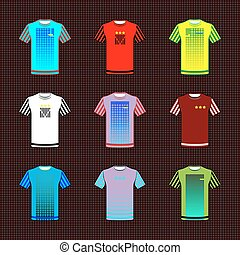 Football Soccer Baseball Volleyball Team Sportswear Uniform. Stylish design for players t-shirts front view. Vector.
