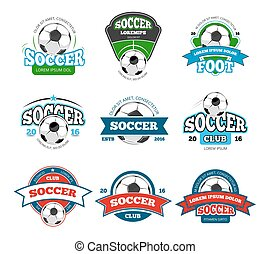 Football, soccer club vector logo, badge templates set