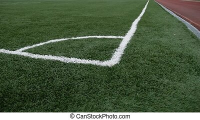 football Soccer field corner with green artificial sport ...