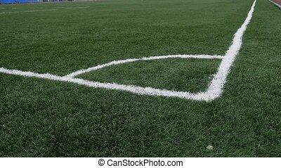football Soccer field corner with green sport artificial...