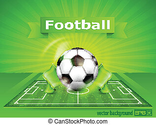 Football (soccer) field with ball and text - Football...