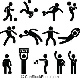 Football Soccer Goalkeeper Referee - A set of pictogram...