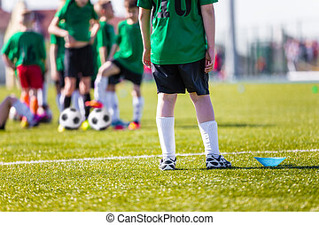 Football soccer match. Training and game for children. Soccer training for children.