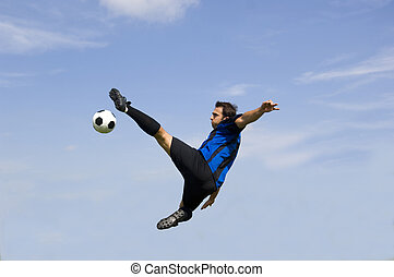Football - Soccer Player Volley - Football - soccer player...