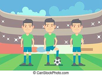 Football, soccer players vector illustration