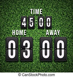 Football soccer scoreboard on grass background. Vector template