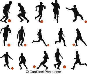 Collection of different football (soccer) silhouettes. Vector illustration.