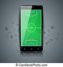 Football, soccer - sport template. Smartphone icon.