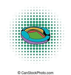 Football soccer stadium icon, comics style