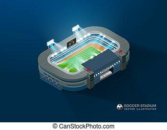football soccer stadium isometric night