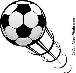 Football speeding through the air