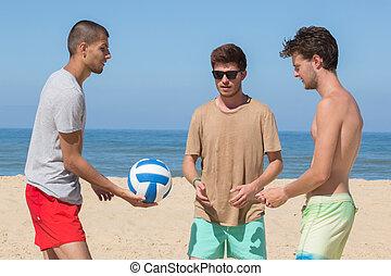 football, spiaggia, tre, squadra, amici, gioco