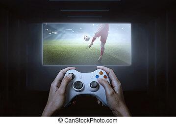 football spiel, controller, video, hände, spielende