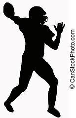 football, sport, américain, -, silhouette