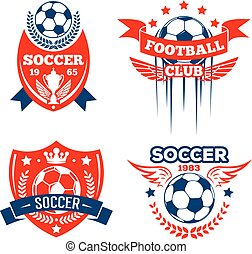 Football sport club of soccer game badge set