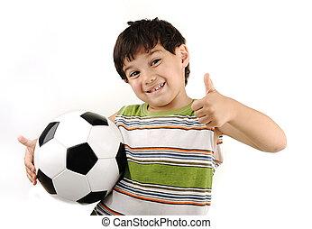 football, sport, pouce, garçon, up!