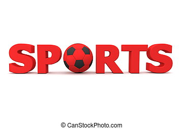 Football Sports Red - red word Sports with football/soccer...