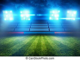 football, stade, lumières