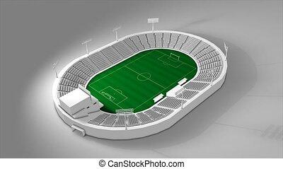 Football stadium, 360 view animation.