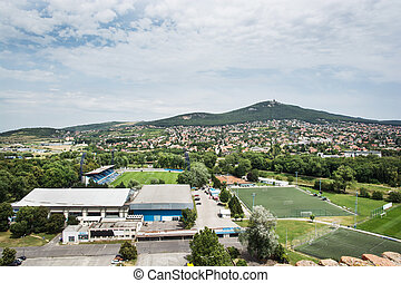 Football stadium in Nitra city and hill Zobor. Slovak republic, central Europe.