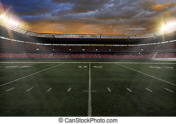 Football Stadium with fans wearing red uniforms