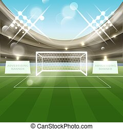Football stadium vector background with soccer goal net,...