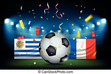 Football stadium with the ball and flags. Uruguay vs France