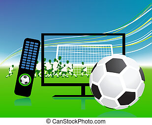 football stel, op, tv, sporten, vaart