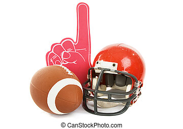 Football, helmet, and foam number one finger. Isolated on white background.