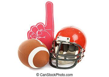 Football Still Life - Football, helmet, and foam number one ...