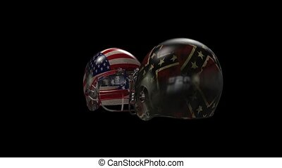 Football - Two football helmets collide