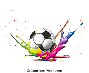 football - illustration of a football falling into a color...
