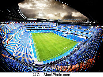 football - panoramic view of a football stadium with...