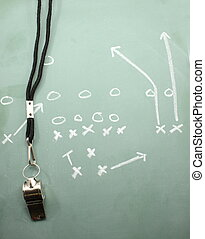 Football Sweep Chalkboard and Coaches Whistle - A football...