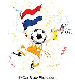 football, tête, balle, ventilateur, hollandais