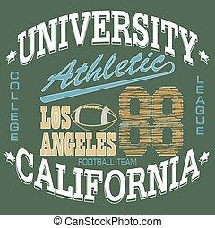 Football T-shirt graphics, California, sportswear appare -...