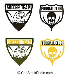 football team crests set with eagle and skull