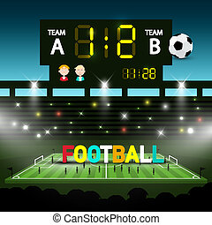 Football Team Match on Soccer Stadium. Evening Vector Sceen with Players and Ball.