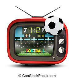 Football Team on Stadium on Retro Red Television with Ball. Soccer Match ot TV Vector Illustration.