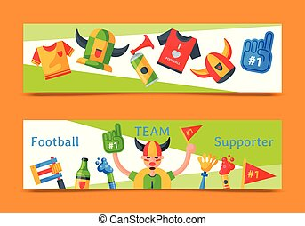 Football team supporter set of banners vector illustration....