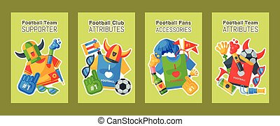 Football team supporter set of cards, banners vector...