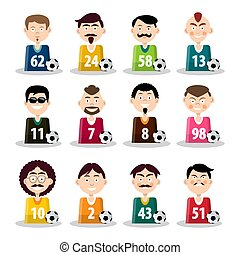 Football Team. Vector Soccer Players Icons Isolated on White Background.