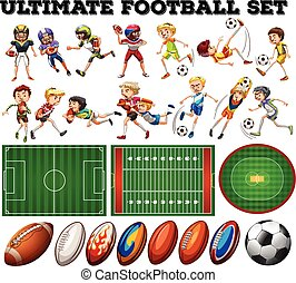 Football theme with players and ball