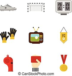 Football things icons set, flat style