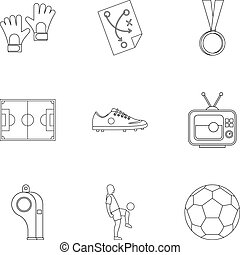 Football things icons set, outline style