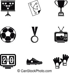 Football things icons set, simple style