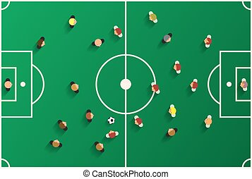 Football Top View Playground with Players. Soccer Stadium Vector Illustration.