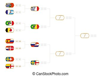 Football tournament bracket with score of round of 16. Vector illustration.