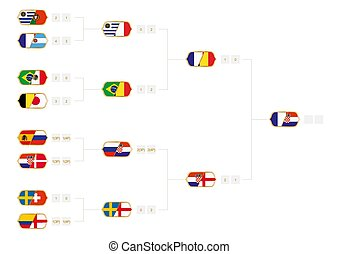Football tournament bracket with score. Vector illustration.